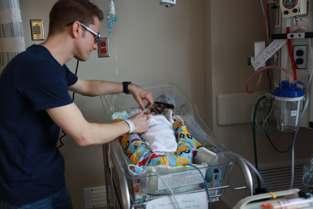 Father with NICU baby